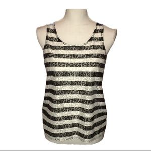 Express | Black/Ivory Lace Tank w/Back Cutout | S